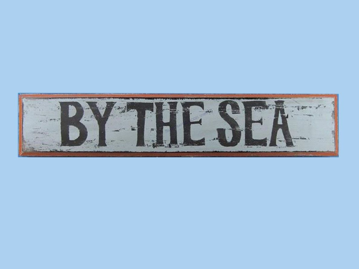 """Wooden By the Seaside Nautical Plaque 36"""""""