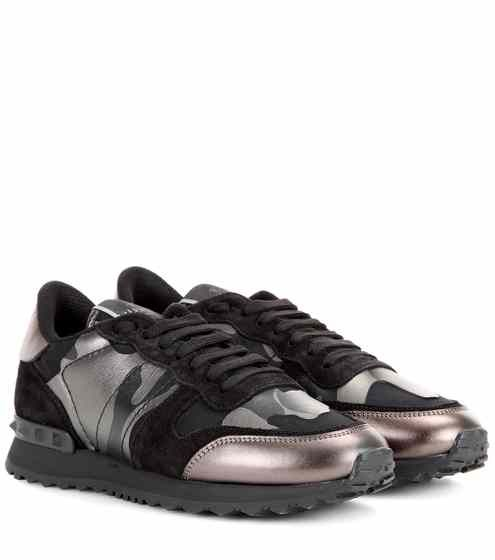 c7ed5d0c07343 Rockrunner Camouflage metallic leather sneakers | Valentino ...