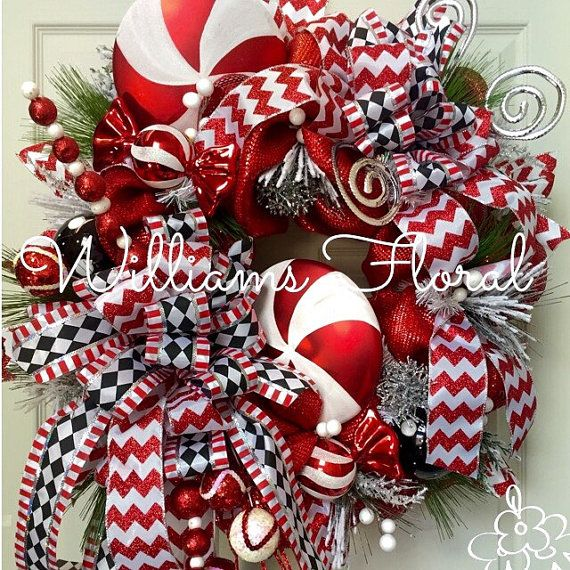 Whimsical Candy Cane Wreath Christmas Wreath by WilliamsFloral