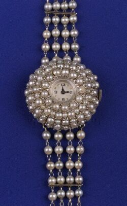 Vintage white gold and pearl wristwatch