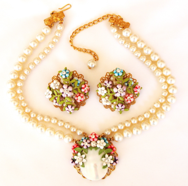 Miriam Haskell attributed rhinestone and pearl duo.
