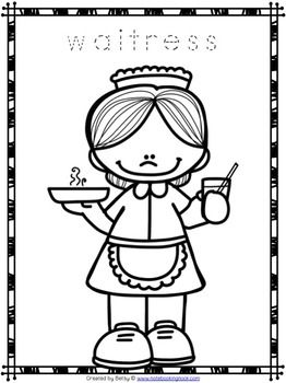 Free Community Helpers Tracing and Coloring Pages day art