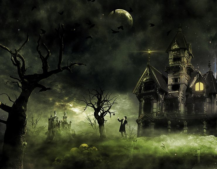 Create This Eerie Haunted House Scene For Halloween Photo