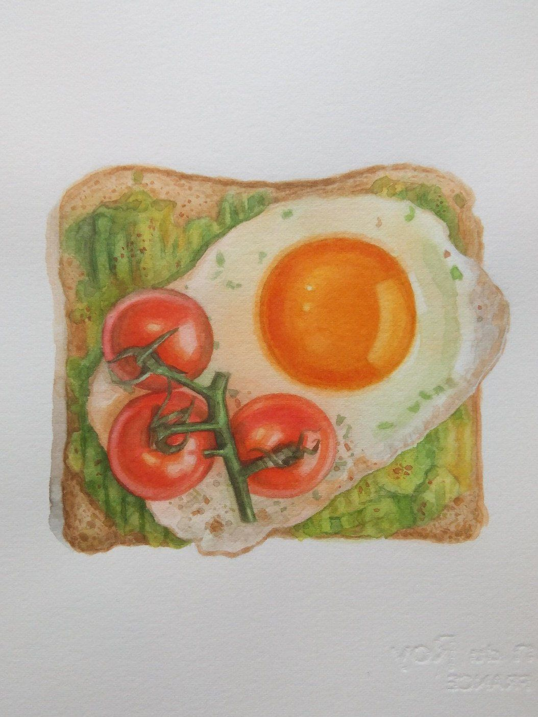 Avocado Tomatoes Fried Egg Bread Watercolor Breakfast Toast Etsy In 2020 Food Painting Fruit Artwork Fruits Drawing