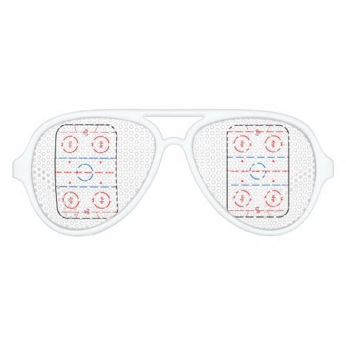 Ice Rink Diagram Hockey Game Graphic Aviator Sunglasses Hockey