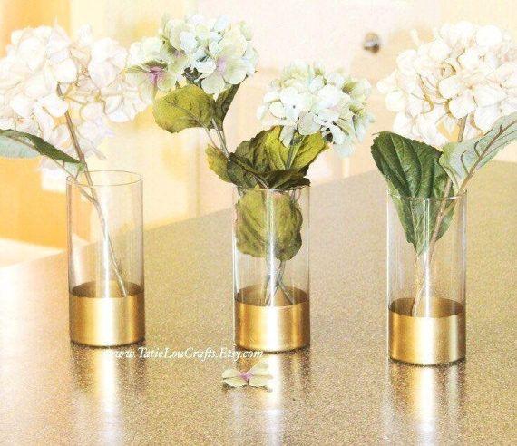 Set Of 3 Gold Dipped Vases Glass Cylinder Vases Gold Dipped Vase