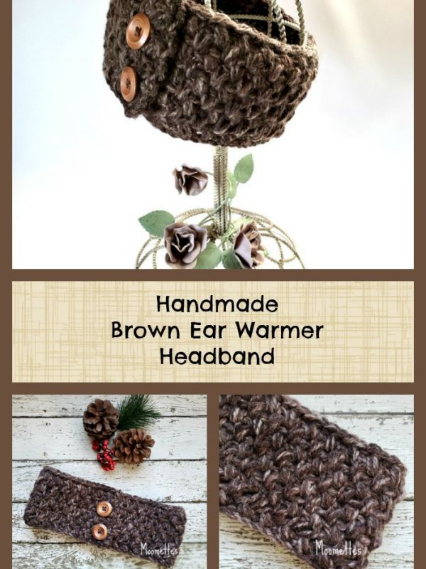 Chunky Ear Warmer Brown Marble Textured Headband Wood Button Earwarmer Handmade #marbletexture
