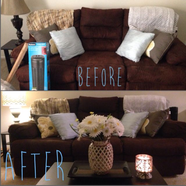 Brown couches aren't really your style? Throw in some tan, teal, and yellow accents! The daisy ...