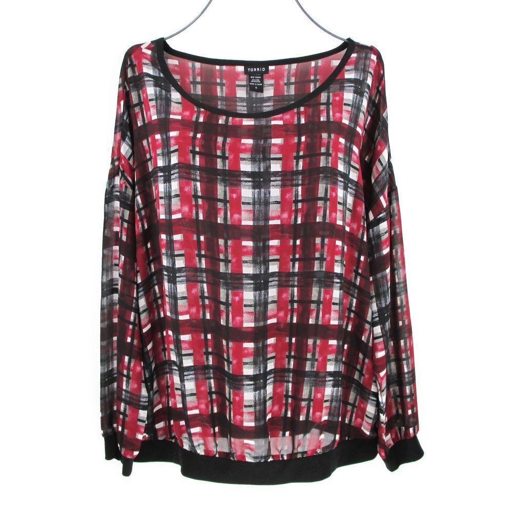 b81a2dcf6ae Torrid 0 Plaid Top Large L Red Black Long Sleeve Shirt Tunic Blouse Chiffon   Torrid  Tunic  Career