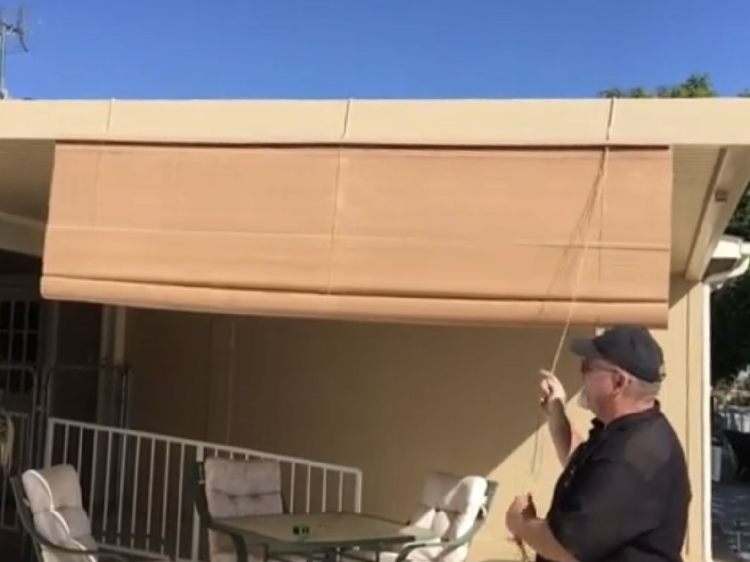 pull down shade for patio cover great