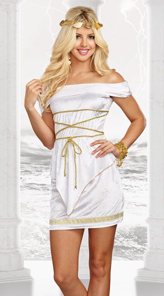 610e979e0 Glide effortlessly to Mt. Olympus in this Goddess Beauty costume featuring  a white off-the-shoulder dress with gold rope detailing, triangular front  ...