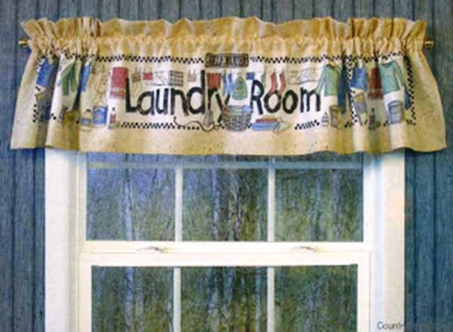 Fascinating Brown Theme Of The Cute Laundry Room Curtains Which Completed With The Special Pattern 915x Laundry Room Curtains Laundry Room Sage Green Curtains