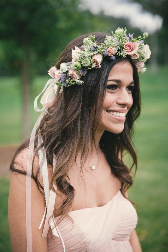 Wedding Floral Wreath Romantic Bridesmaid Hair Romantic Wedding Hair Flowers In Hair
