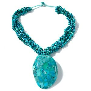 """Sajen Silver by Marianna and Richard Jacobs Turquoise and Abalone Shell 19"""" Necklace at HSN.com."""