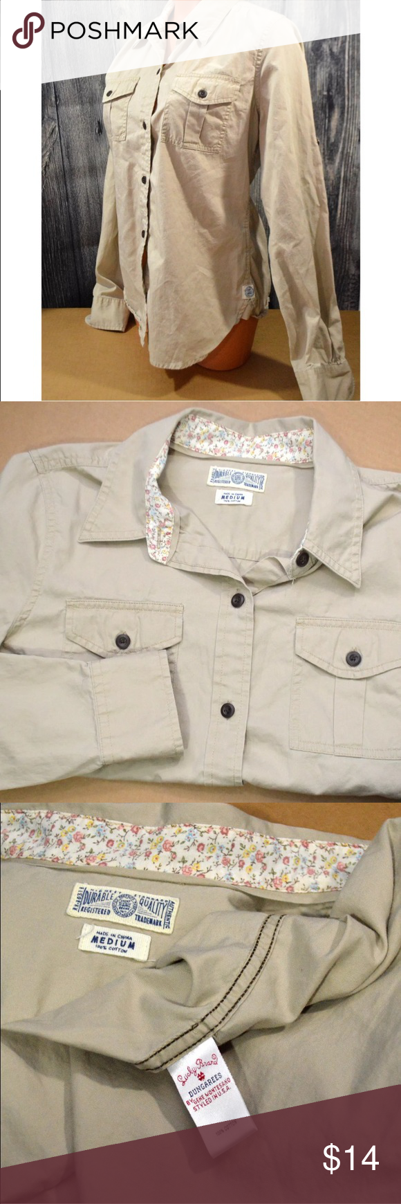 "Lucky Brand Dungarees Tan Button Down Shirt Lucky Brand Dungarees  Beige Tan Button Down Shirt  Size M   Gently worn, see images for the exact item you will receive.   Approx 17"" armpit to armpit. Lucky Brand Tops Tees - Long Sleeve"