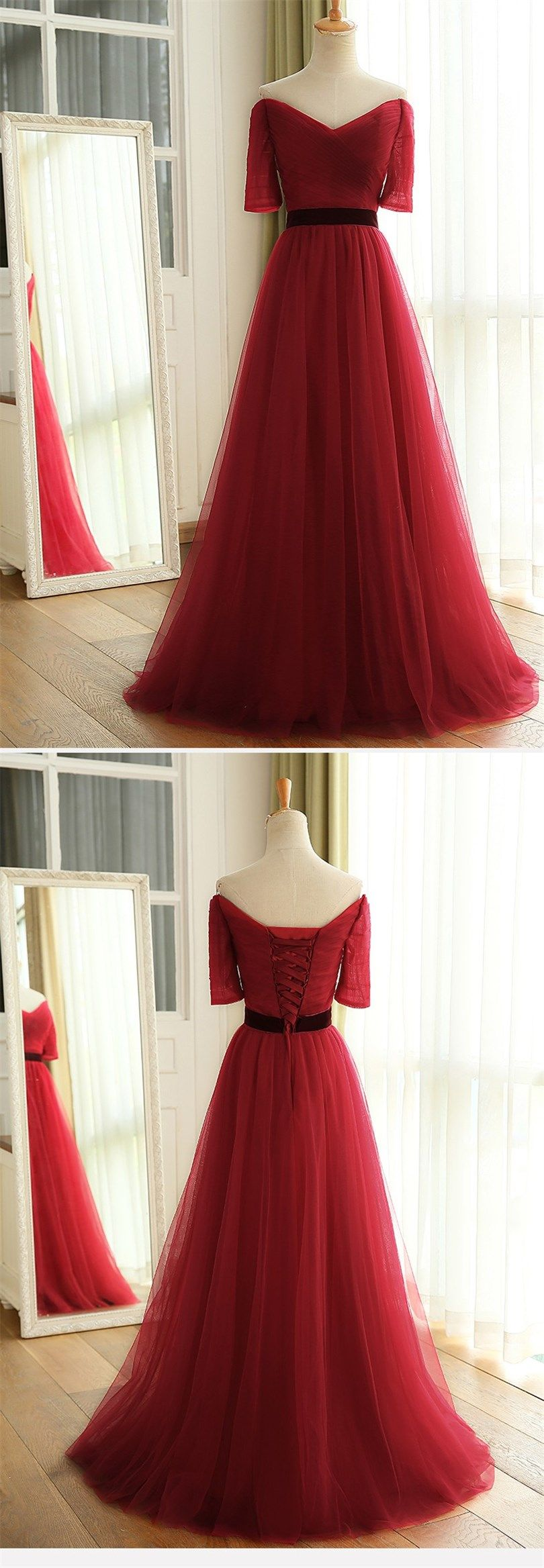 new wine red long floor length off the shoulder ruched tulle