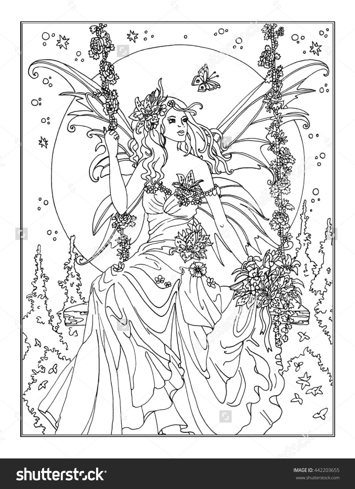 coloring page the enchanted fairy adult coloring fairy coloring pages coloring pages fairy. Black Bedroom Furniture Sets. Home Design Ideas