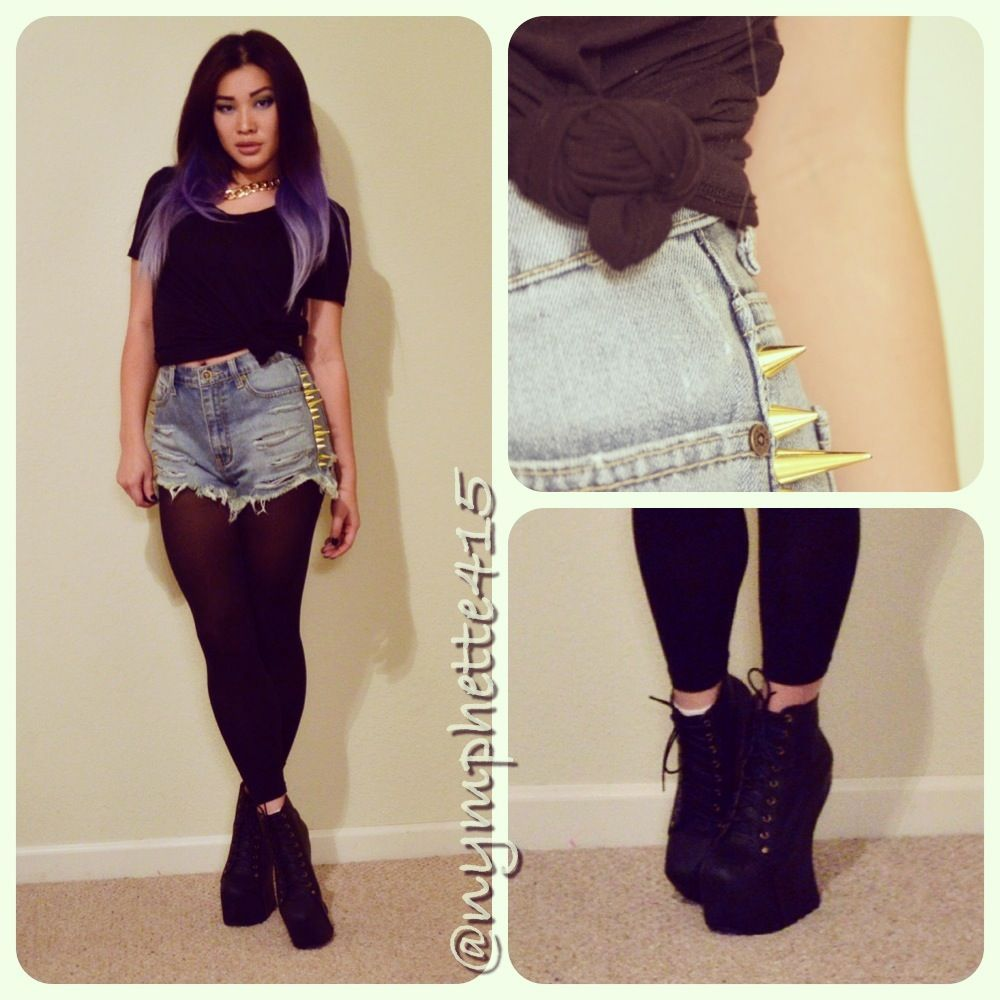 high-waisted-denim-unif-backoff-shorts-spikes-jeffrey-campbell ...