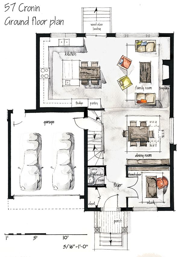 Real estate watercolor 2d floor plans part 1 on behance for Bathroom design 2d