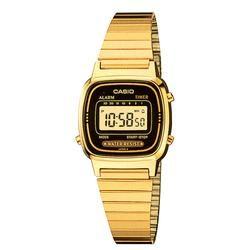 Relógio Feminino Casio, Cronômetro, Pulseira de Aço Inoxidável, Resistente à Água - LA670WGA-1DF