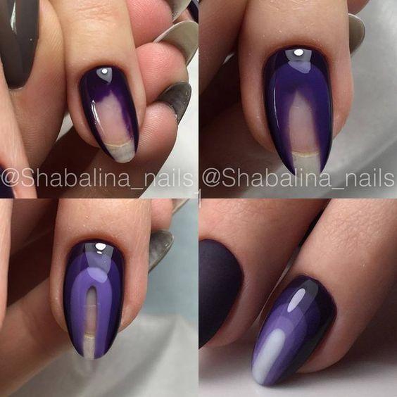 Diy Autumn Gradient Nail Art: Black Purple Dark Light Gradient