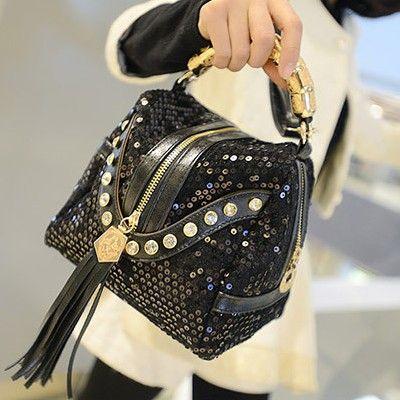 Fashion Solid Zipper Black PU Clutches Bag
