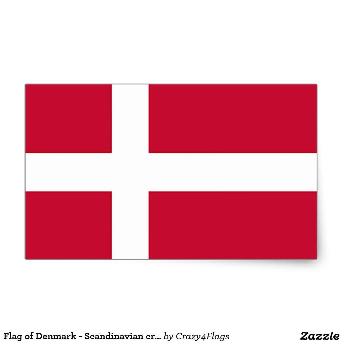 Flag Of Denmark Scandinavian Cross Rectangular Sticker Zazzle Com Denmark Flag Scandinavian Flag