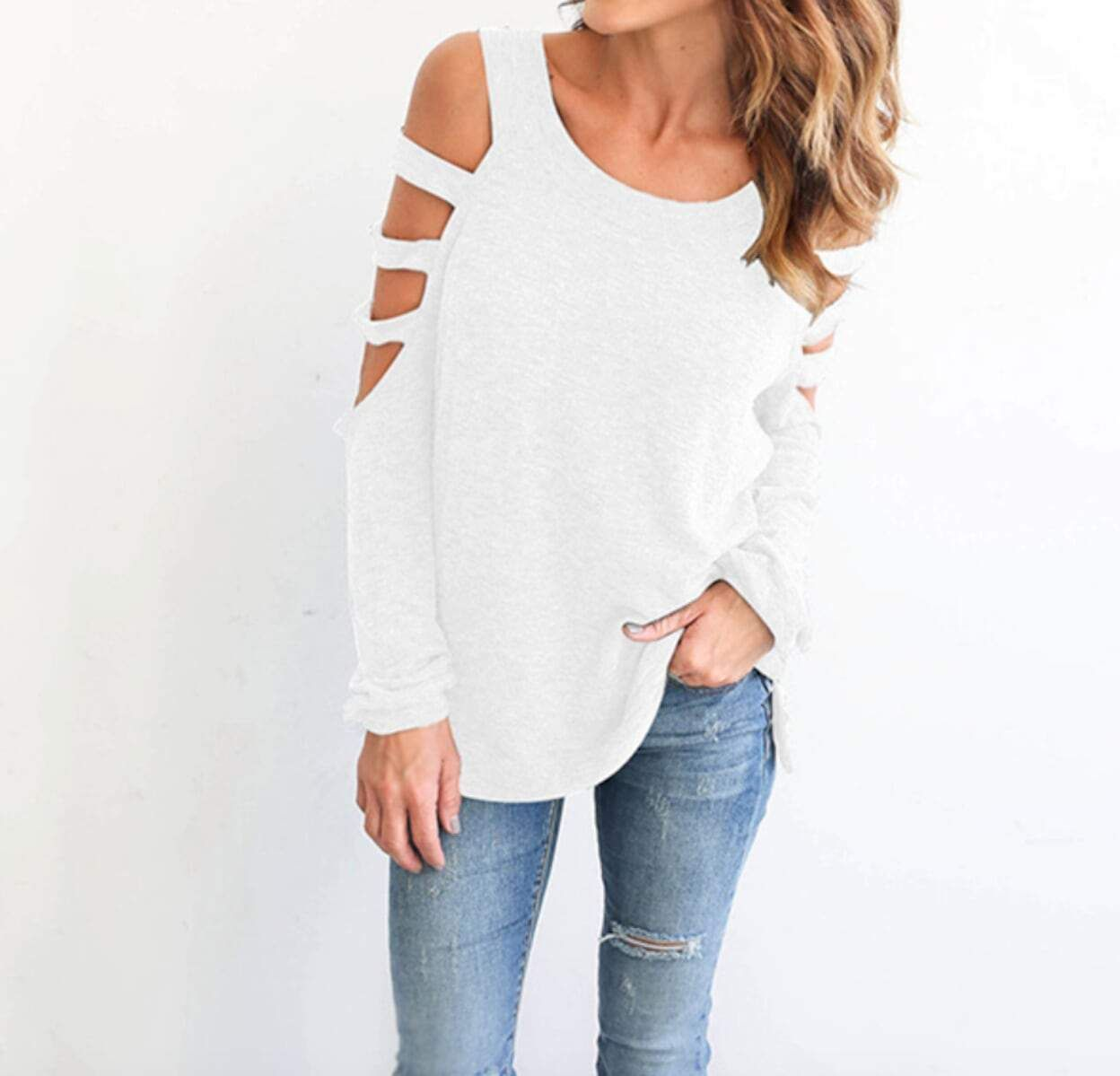 497750610cd Womens Cut Out Shoulder Top Fabric: Nylon Fit: Slim Fit Color Available:  Black, Blue, White, Dark Gray, Light Gray Size: XS, S, M XS Shoulder : 15  inch ...