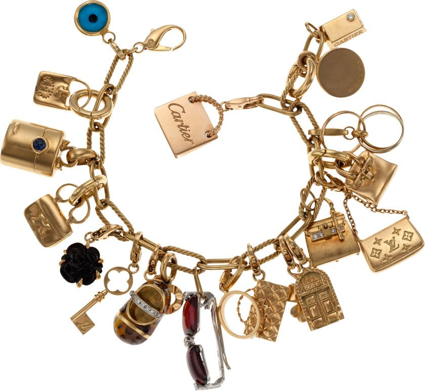 7555ad736 Stunning 18k Yellow Gold Charm Bracelet with 19 18k Gold Hermes, Chanel,  Louis Vuitton, Cartier, Tiffany & Co., and Aaron Basha Charms
