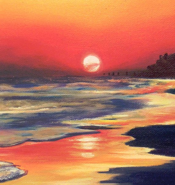 Reflection Gradient Sunset 5x7 Oil On Canvas Beach Scene Painting Reproduction Landscape Ocean Water Beautiful Ombre Sky Print Long Island Beach Scene Painting Sunset Painting Scenery Pictures