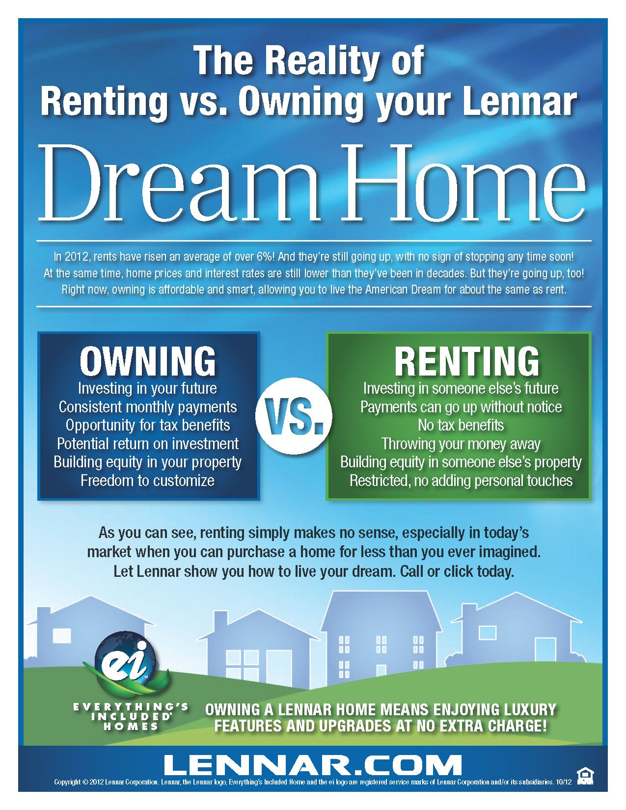 The Facts On Owning Vs Renting Http New Homes Lennar Com First