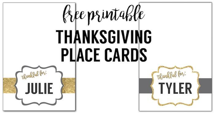 Free Printable Thanksgiving Place Cards #thanksgivingdinnertable Free printable …