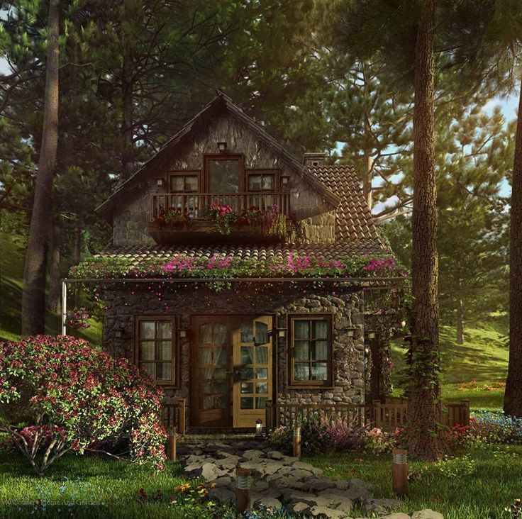 Perfectly Picturesque Cabin In The Woods Rounded Stone Tile Roof Wood Trim