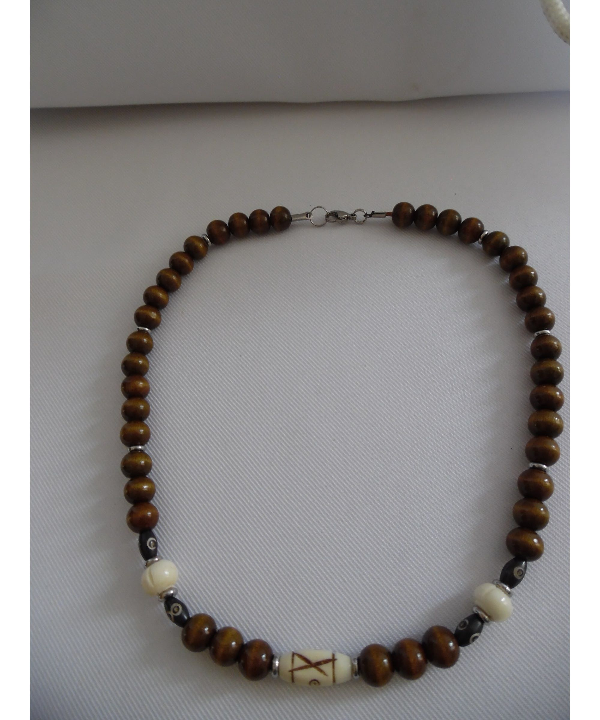 collier homme grosse perle bois