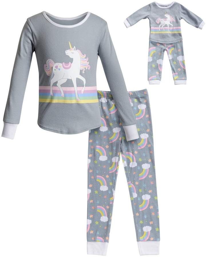 Girl 4-14 and Doll Matching Unicorn Nightgown Clothes ft American Girl Dollie Me