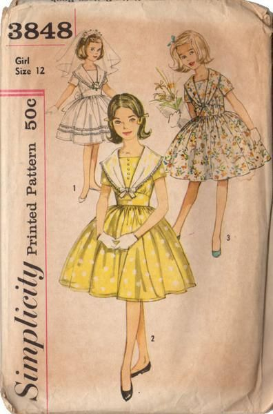 Vintage 1950s Simplicity Sewing Pattern 3848 Girls Long Collar Dress ...