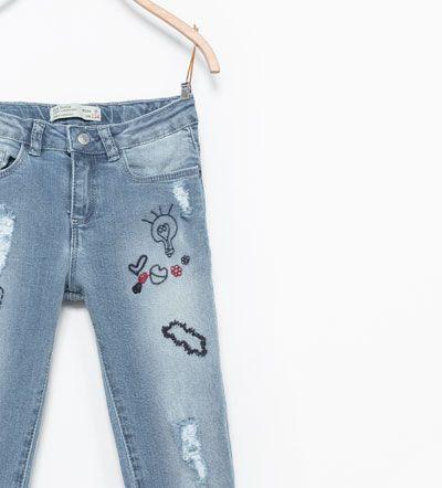 Pantalon Denim Detalle Rotos Jeans Nina 3 14 Anos Ninos Denim Ropa Jeans