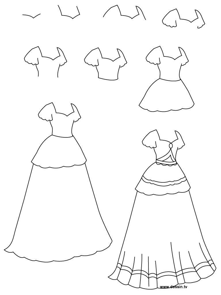 How to draw a dress learn how to draw a princess dress with simple step by step