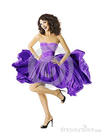 6085821cc0b1 Woman Dancing In Waving Dress, Young Dancer Girl Jumping Step, Flying  Purple Skirt Isolated over White