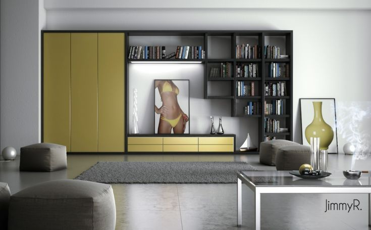 Chick and Unique Interior for White Based Living Room: White Living Room With Yellow Cabinet And Chest Of Drawer With Gray Puff