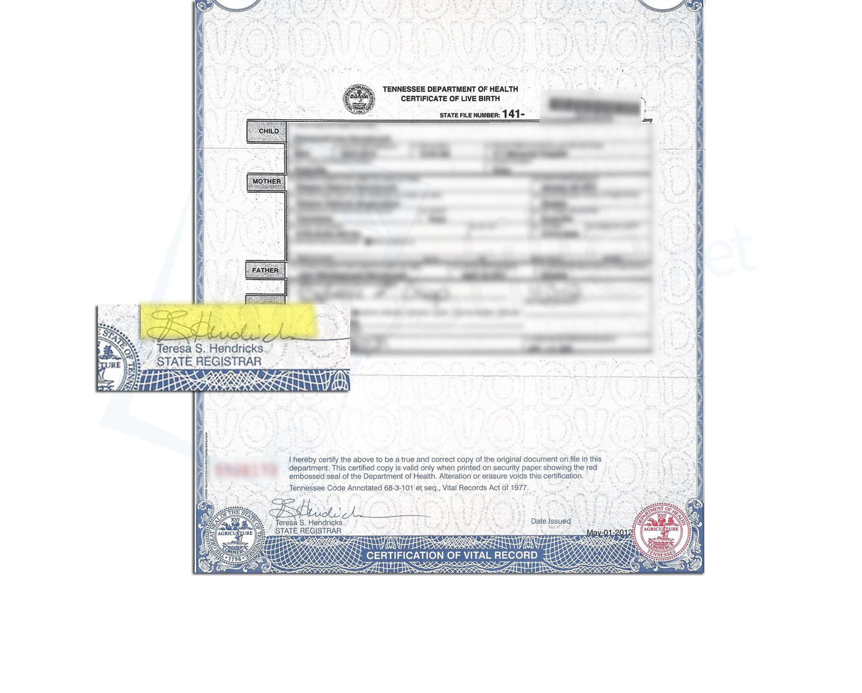 State of Tennessee Certificate of Live Birth issued by Teresa S ...