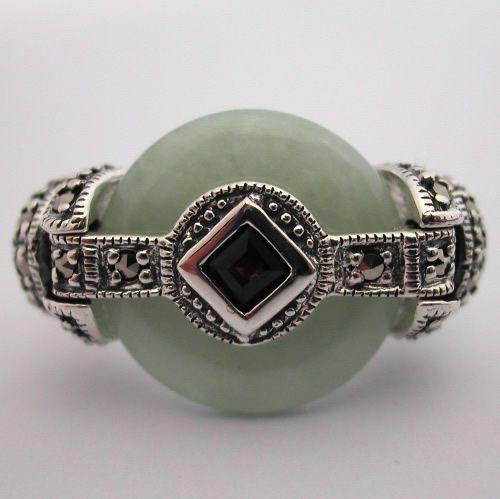 bague art d co bague argent jade grenat marcassite 121 style art d co bijoux anciens paris. Black Bedroom Furniture Sets. Home Design Ideas
