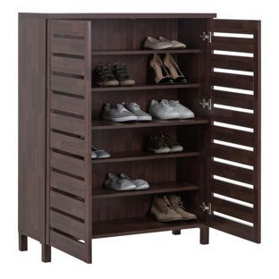 Buy Home Large Slatted Shoe Cabinet Mahogany Effect At Argos Co Uk Your Online Shop For Shoe Stor Muebles Para Guardar Zapatos Muebles Para Zapatos Muebles