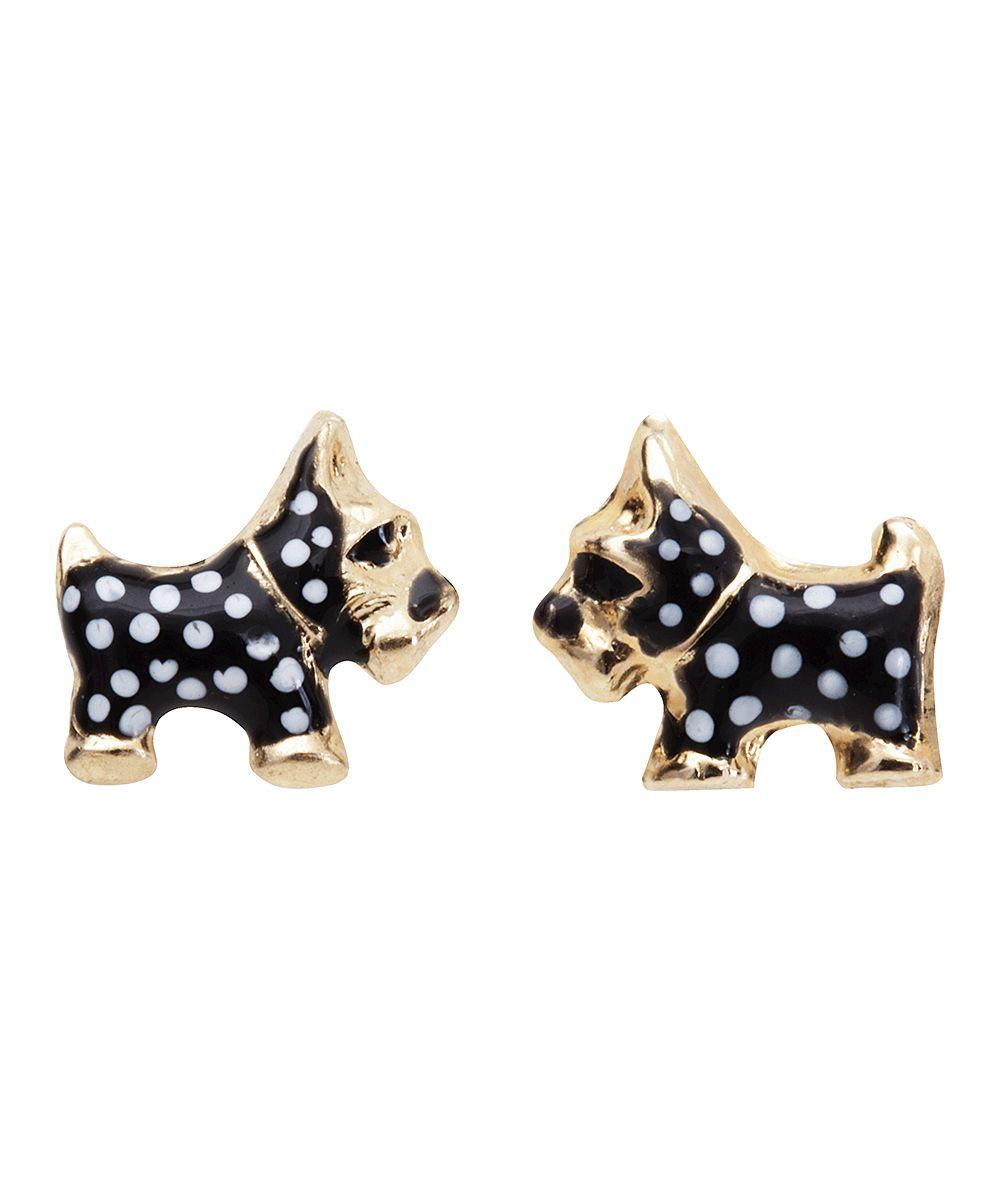 Black u white polka dot terrier earrings scotties pinterest