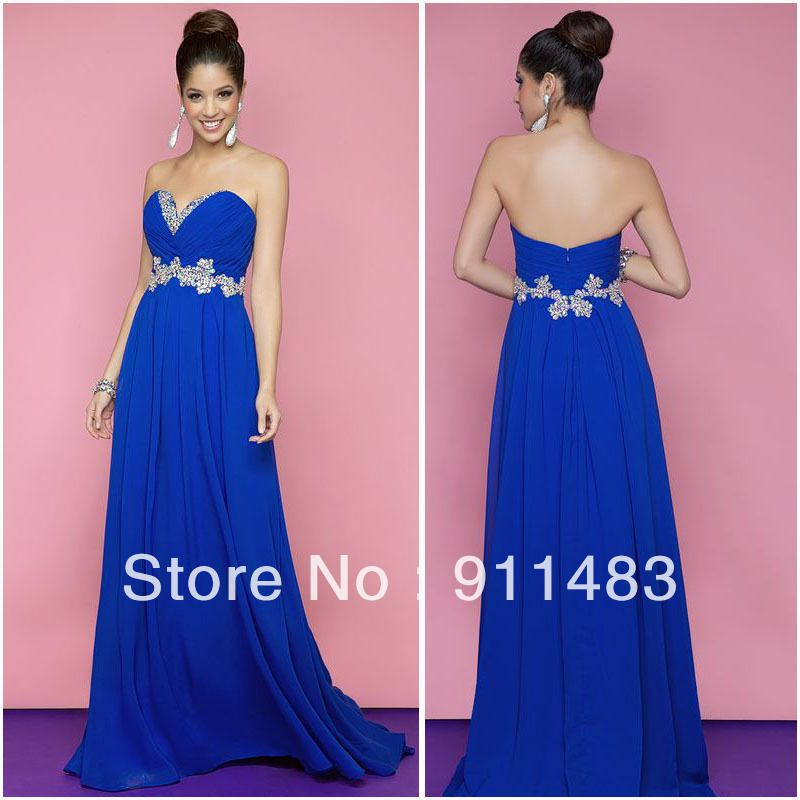 H329 Empire Waist Beautiful Sweetheart Crystal Beaded Chiffon Floor ...