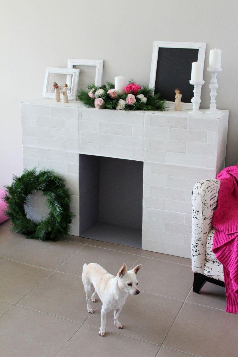 Simple Faux Fireplace Diy christmas fireplace, Cardboard