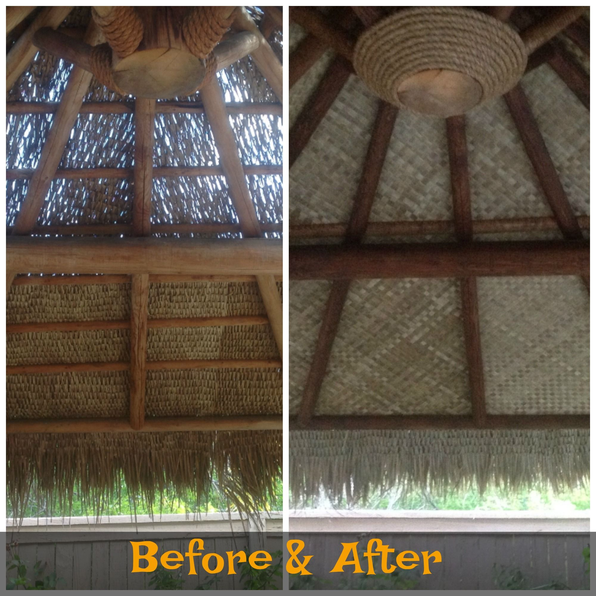 Before After Palapa New Mexican Thatch Lauhala Matting And Decorative Rope Detail Thatch Thatched Roof Yoga Room