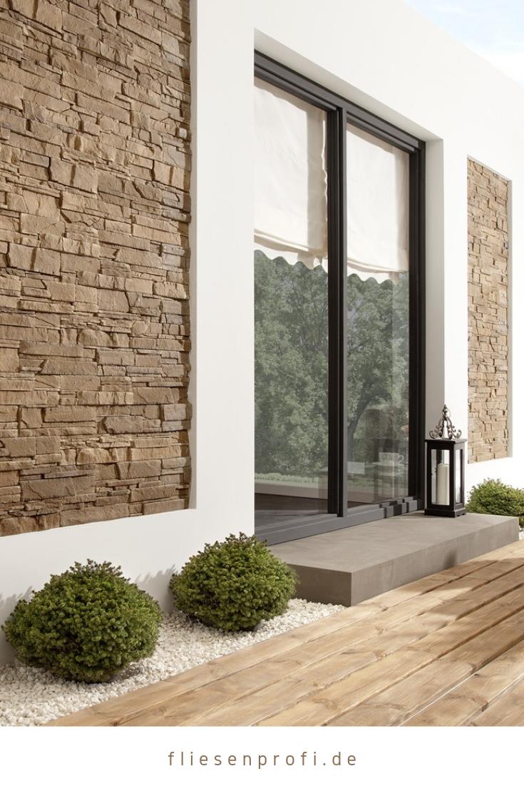Fassade mit Verblender in NatursteinOptik Klinker