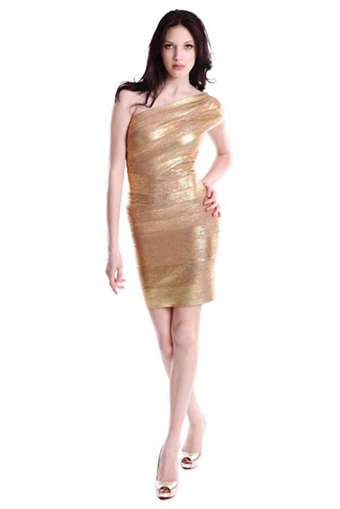 605cf923e8c08 Herve Leger Cap Sleeve One-shoulder Golden Bandage Dresses | Herve ...