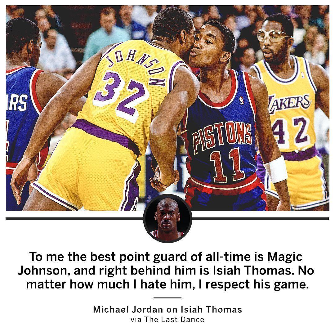 Nba On Espn On Instagram Game Respects Game Thelastdance In 2020 Michael Jordan Isiah Thomas Espn